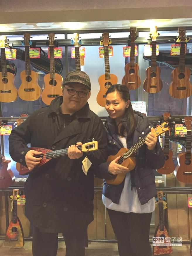 林子聰(左)與老婆Christy今年初曾來台旅行。(艾迪昇傳播提供)