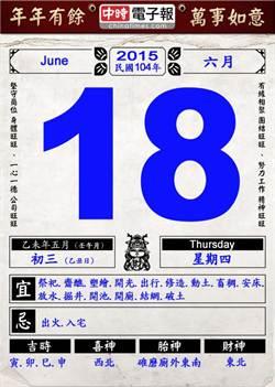 《農民曆小幫手》國曆六月十八日