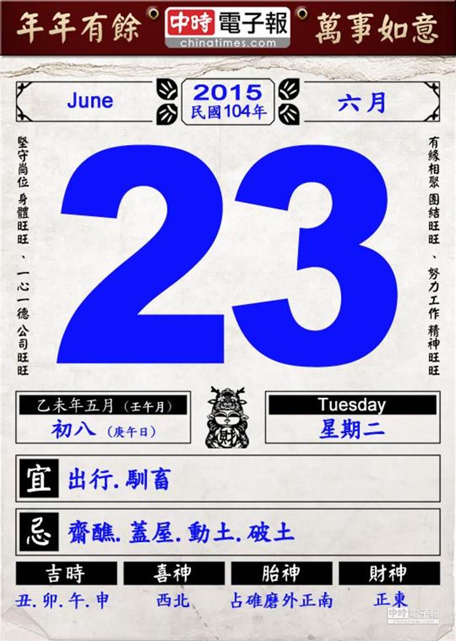 今日農民曆。(製圖/中時電子報)