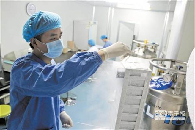 位於湖南的中信湘雅生殖與遺傳專科醫院,工作人員正在將精子放到液氮罐中冷凍保存。(圖片取自《長沙晚報》)
