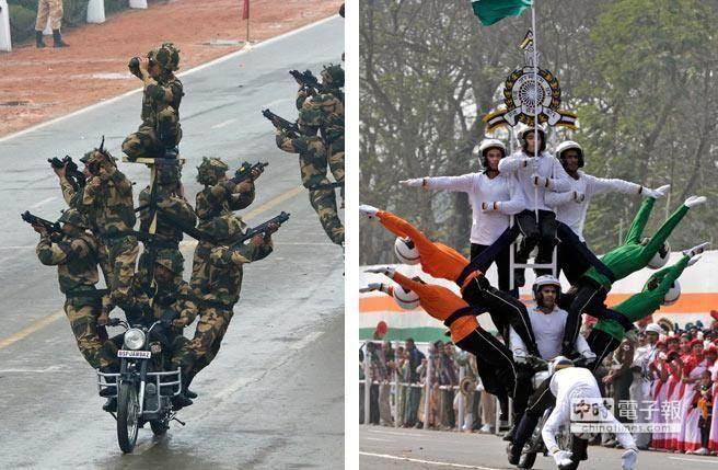 印度國慶日的閱兵及遊行活動,展現非常有特色的表演方式。(美聯社)