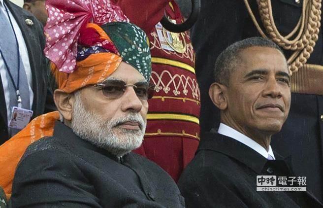 印度總理莫迪(左)美國總統歐巴馬(右),共同出席這場盛會。(美聯社)