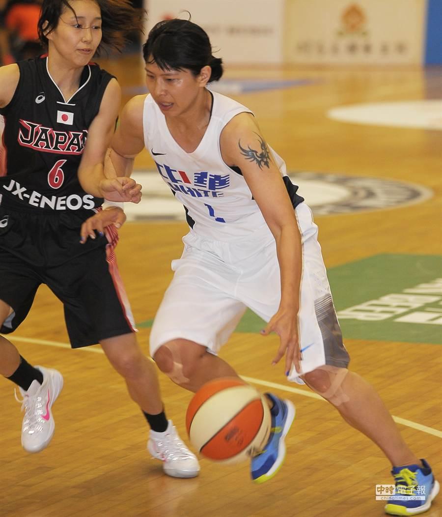 瓊斯盃女子組中華白與日本之戰,中華白馬怡鴻(右)運球越過防守她的日隊球員。(季志翔攝)
