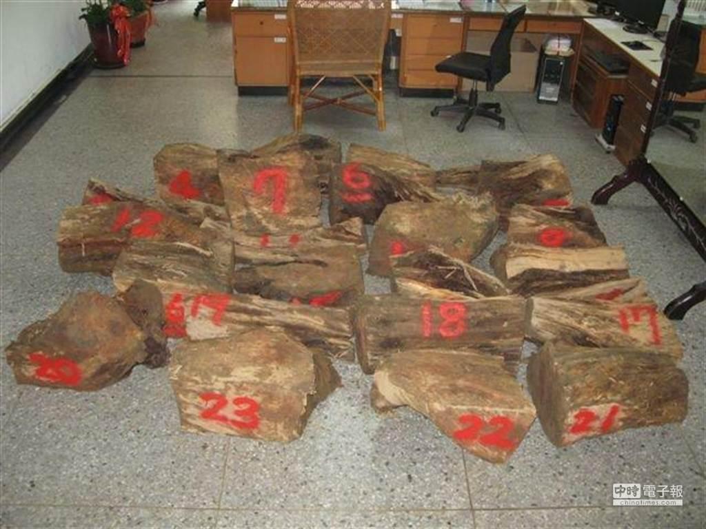 南投檢警今晨破獲盜木集團,起出1級針葉木台灣扁柏塊材85塊、總重3525公斤,市值約400萬元。(沈揮勝翻攝)