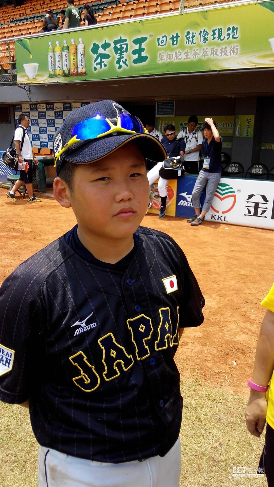 U12世界盃少棒賽日本隊第4棒西岡義晴覺得台灣的球迷很熱情。(廖德修攝)