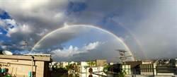 天鵝來襲前  台北天空出現雙彩虹