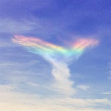 罕見「火彩虹」現蹤 臨空像天使展翅美翻