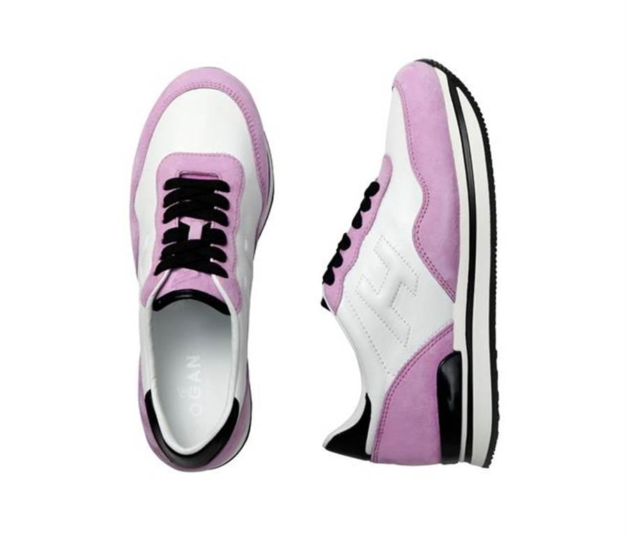 H222粉色麂皮拼接白色皮革繫帶休閒鞋建議售價18,900元。圖片提供/HOGAN