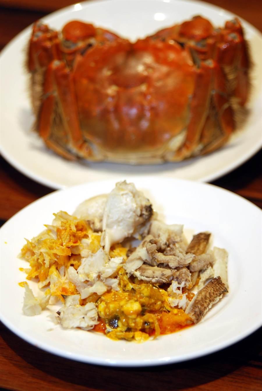 所謂「蟹粉」,是指從螃蟹身上以手工拆出的蟹肉、蟹腳肉與蟹膏和蟹黃炒製後的鮮濃佐料。一個有經驗的師傅拆一隻蟹,也得花上6、7分鐘。(圖/姚舜攝)