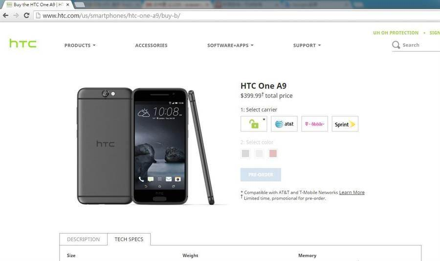 A9在美國官方售價為399.99美元。(圖片截取自http://www.htc.com/us/smartphones/htc-one-a9/buy-b/)