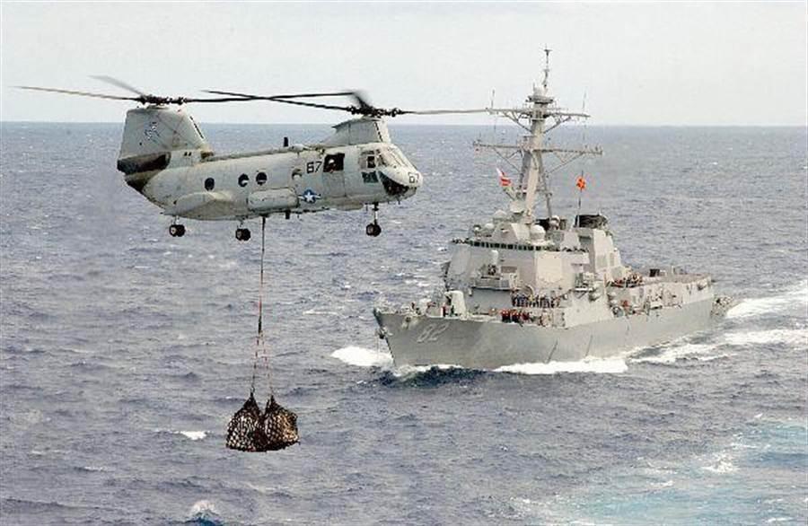 美國國防官員透露,驅逐艦「雷森號」可能在24小時內駛入中國在南海的人造島礁12海浬範圍內。圖為雷森號與CH-46D直升機進行操演。(翻攝自USS Lassen網站)