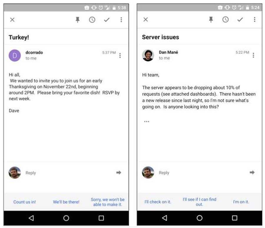 Inbox by Gmail App即將加入智慧回覆功能,協助你快速回覆電子郵件。(取自Google Search Blog)