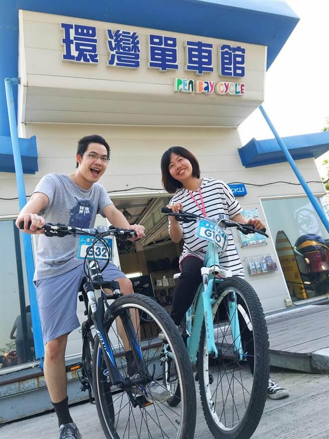 活動期間,每日前20名到環灣單車館租車的遊客,每台單車可享3小時免費。(許智鈞攝)