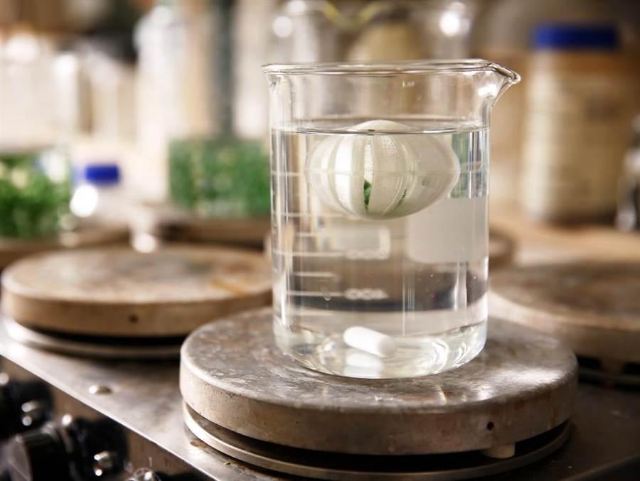 中華大學工程系學生蔡輝煌與黃暐倫,共同研發外觀白色、能解決優養化的Green Fairy,除有效吸附水中的氮、磷,又可包覆含藻顆粒,懸浮水面攝取陽光,避免被魚群直接吃掉。(郭芝函翻攝)