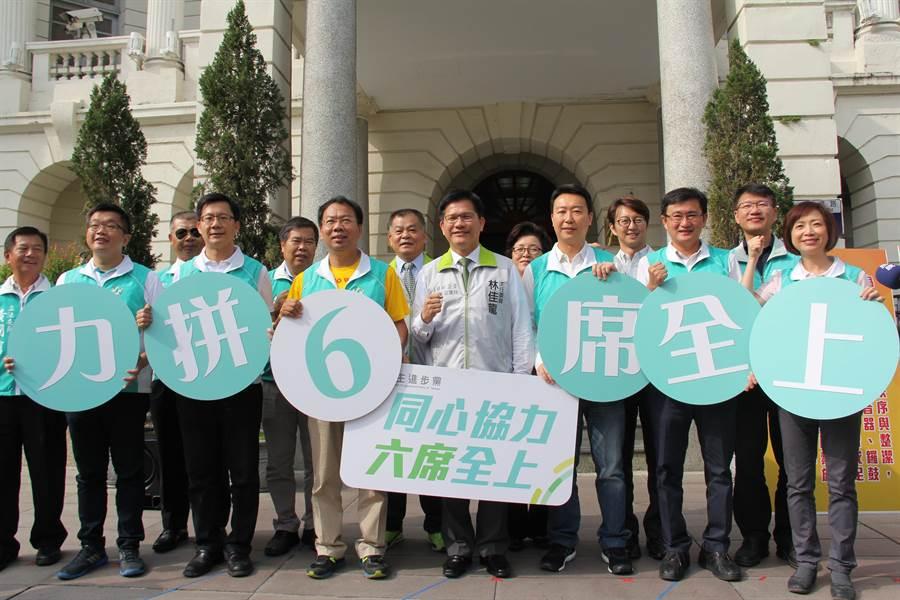 「6席全上!」民進黨6名立委參選人,由市長林佳龍領軍打團體戰,強調「台中贏,台灣就贏!」(盧金足攝)