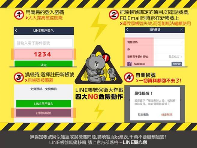 LINE分享4大帳號管理NG提醒,敬告LINE使用者妥善管理帳號,各位網友使用上也得多多留意唷。(圖/LINE官方臉書)