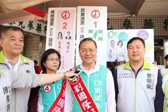 民進黨市黨部主委劉文欽、陪台聯劉國隆市場掃街
