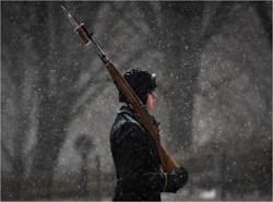 英靈不孤 禮兵風雪中仍值勤