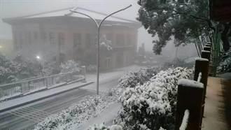 華梵大學被白雪覆蓋 學生開心堆雪人