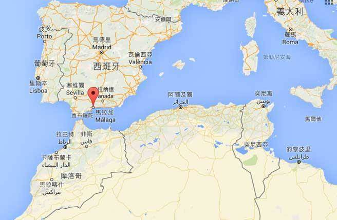 西班牙馬拉加(Malaga)東南約162公里的外海今天發生規模6.6強震。(圖摘自google map)