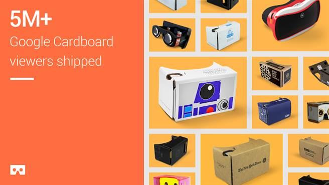 Google釋出首個與VR相關的統計資料,推出至今僅19個月,Cardboard VR Viewer出貨量已衝破五百萬,成績頗為亮眼。(圖/翻攝Google)