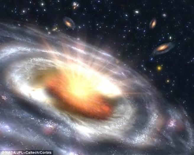 澳洲科學家發現,恆星與恆星之間的電離氣體中存在一種不可見的黑暗物質,其形狀類似通心麵,將有助於解開類星體許多謎團。(取自NASA)