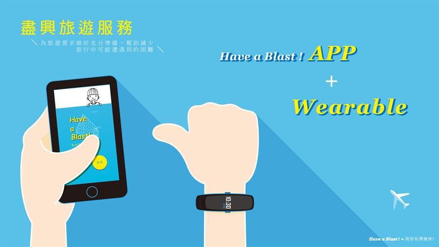 北科大學生結合APP、穿戴裝置,設計「Have a Blast!(盡興旅遊服務)」手環。(北科大提供)