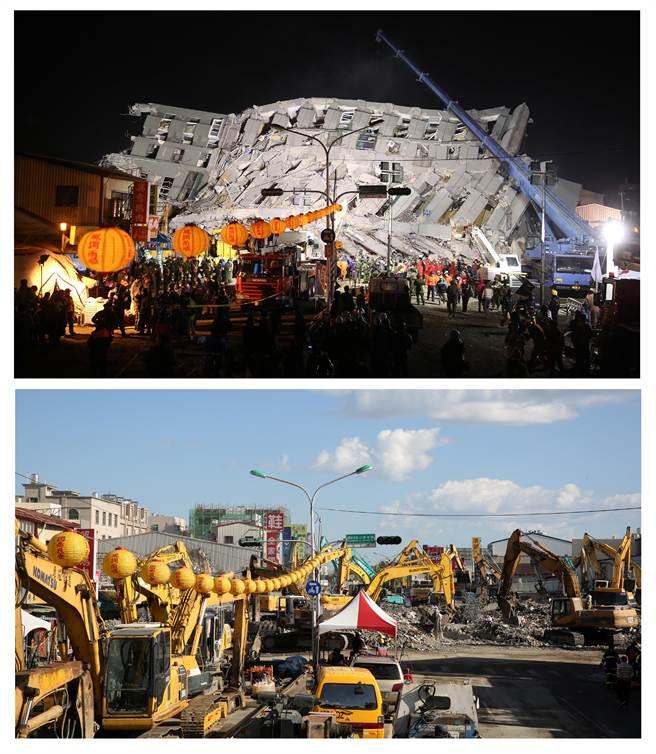 在倒塌後將永大路南北向阻隔的維冠金龍大廈,也幾乎被大鋼牙夷平(下圖),與震災第一天相比(上圖),現場有著明顯的改變。(王爵暐攝)