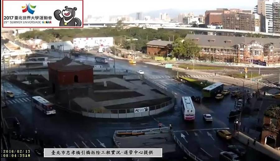 忠孝橋引道拆除提早完工,13日上午8時全線通車。(圖翻攝自YouTube台北市道路施工影像管理中心)