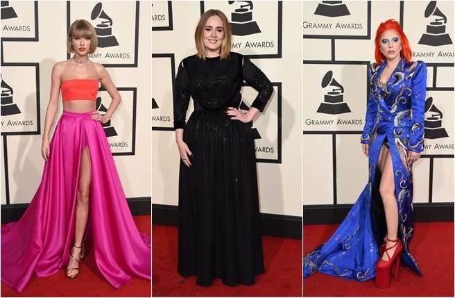 今年葛萊美獎表演堪稱星光熠熠,左起為泰勒絲、愛黛兒以及Lady Gaga。(圖/美聯社)