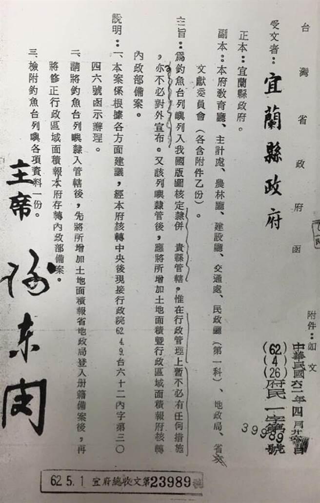 游錫堃表示,釣魚台列入領土是在1973年。(圖/取自游錫堃臉書)