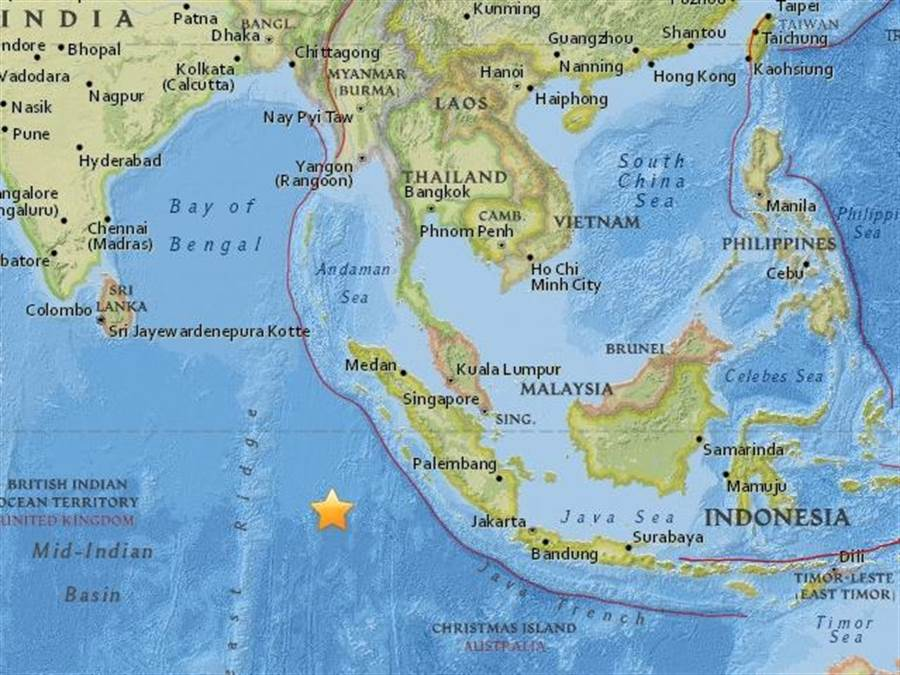 印尼蘇門答臘西南方的外海2日發生規模7.9地震。(取自美國地質調查所網站)