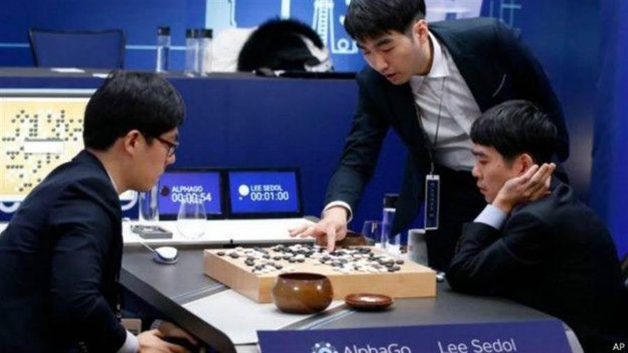 韓國棋王李世乭(右)與人工智慧AlphaGo的人機對奕大戰,帶給圍棋界與科技界無比的震撼。(美聯社)