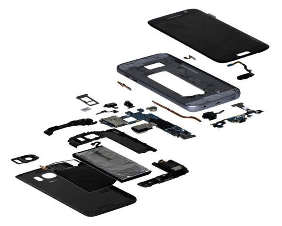 三星Galaxy S7被研究機構拆解並分析物料成本,預估大約是255美元左右。(圖/翻攝IHS)