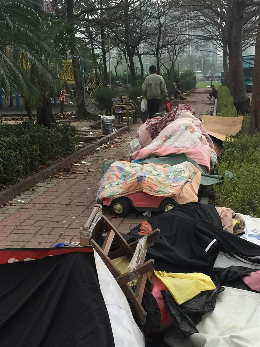 台中市東區自由一街、進德二街口附近綠地,淪為廢棄物堆置場。(馬瑞君攝)