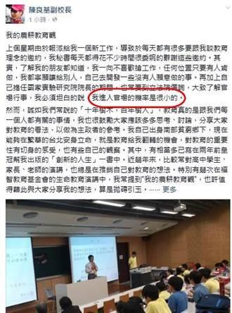 接任教育部長?陳良基:進官場的機率很小