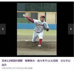 日本棒壇又出新星 日美球探超好奇
