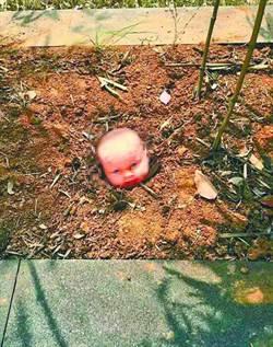 驚悚!大學校園花圃竟「長」出娃娃