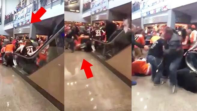 手扶梯突然往前加速 讓大批民眾紛紛往前撲向前方人潮(圖片取自youtube/Viral Tv)