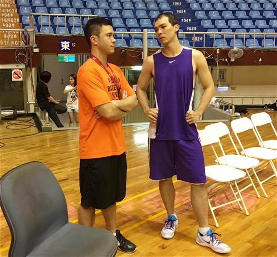 趁著練球空檔,璞園總教練麥班達(左)與蔡文誠討論起明晚應戰之道。(黃及人攝)