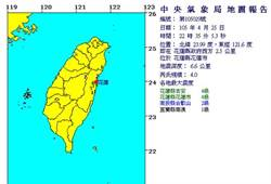 晚間10時35分 花蓮發生規模4淺層地震