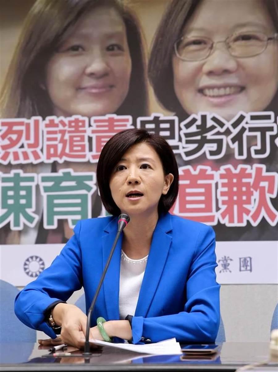 王育敏要求「獨立媒體」記者陳育賢應出面向馬英九總統道歉。(黃世麒攝)