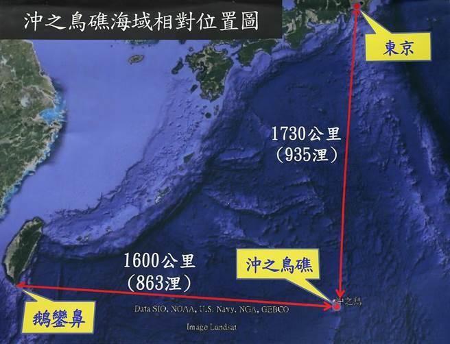 台灣漁船日前在沖之鳥礁附近海域捕魚時遭日本扣押,圖為「沖之鳥礁」海域相對位置圖。(王錦河翻攝)