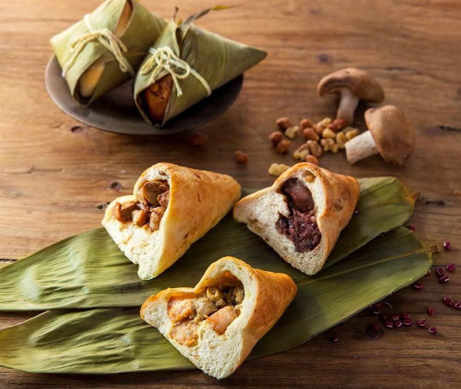 帕莎蒂娜烘焙坊今年一口氣推出3款不同口味的端午麵包粽,並有禮盒方便消費者送禮。(圖/帕莎蒂娜烘焙坊)