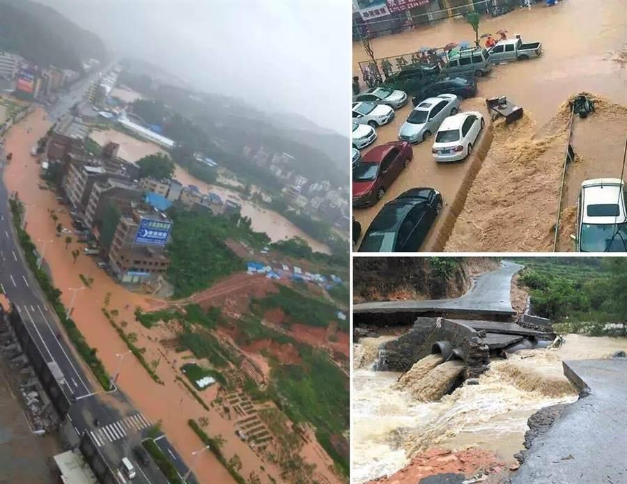 大陸廣東省20至21日發生罕見強降雨,造成茂名市55萬多人受災,其中8人死亡、4人失蹤。(圖/南方日報、羊城晚報)