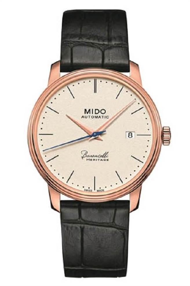 MIDO Baroncelli Heritage永恆系列復刻象牙白面盤男錶,建議售價35500元。圖片提供/MIDO