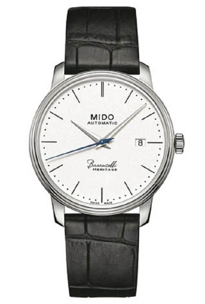 MIDO Baroncelli Heritage永恆系列復刻超薄男仕腕錶,建議售價32000元。為慶祝永恆系列誕生四十周年特別推出的復刻版,厚度僅有6.95 mm,相較以往系列更薄30%,僅一支iPhone 6的厚度,彰顯MIDO工藝內涵。搭載MIDO 1192自動機芯,防水30米。圖片提供/MIDO