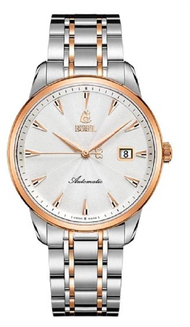 伊波路160週年祖爾斯系列紀念錶(40mm),建議售價46,700元。瑞士製造M100自動機芯,316L精鋼錶殼和錶帶,錶圈和錶帶電鍍玫瑰金,透視底蓋蝕刻依波路瑞士製錶廠房圖案,防水50米。閃耀著玫瑰金光芒的多切面倒三角釘狀時標,與面盤的放射紋精雕呼應,搭配雙色輝映的錶圈與錶帶,細節尊貴迷人,百看不厭。圖片提供/依波路