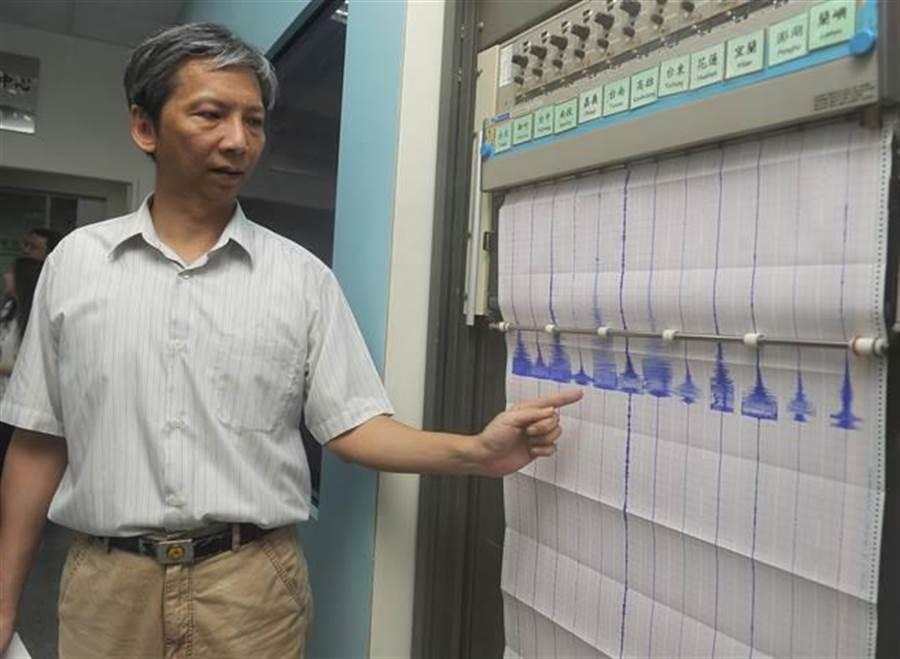 31日下午在台灣東北部海域發生規模7.2地震,全台有感,圖為氣象局地震測報中心技正張建興展示地震類比紀錄器上全台各縣市的最大震度。(季志翔攝)