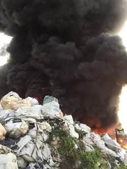 高鐵旁資源回收場火警  濃煙滾滾